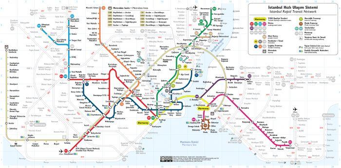 Карта общественного транспорта Стамбула. Линия Metrobus отмечена светло-коричневым