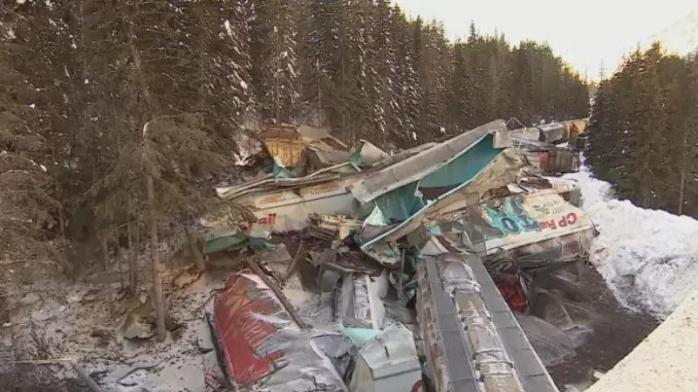 В Канаде поезд упал в ущелье (фото)